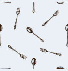 Seamless pattern with hand drawn colored spoon vector