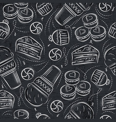 seamless patterns with cupcake ice cream cake vector image