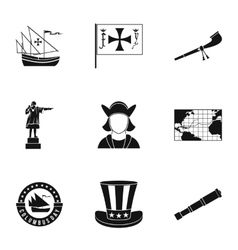 Search of mainland icons set simple style vector