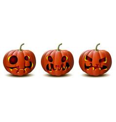 Set halloween pumpkins in with different vector