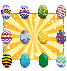 Set of easter eggs on background2 vector image