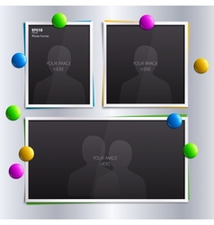 Set of empty photo frames with colorful magnets on vector image
