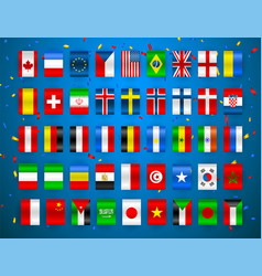 set of flags of world sovereign states colorful vector image