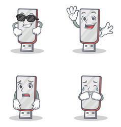 Set of flashdisk character with cool waving afraid vector
