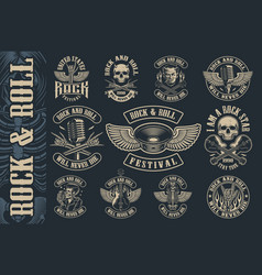set vintage rock and roll emblems vector image