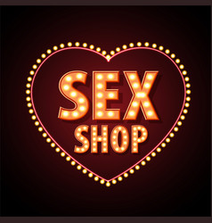 sex shop neon sign vector image