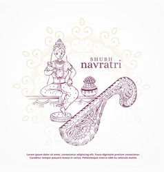 shubh navratri festival design with goddess and vector image
