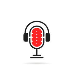simple podcast logo with headphone vector image