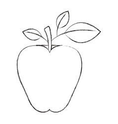 Sketch blurred silhouette image apple fruit with vector