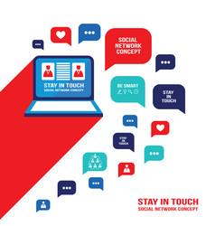 social network communication concept laptop vector image