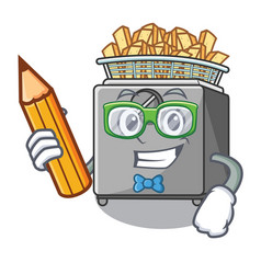 Student with book character deep fryer on vector