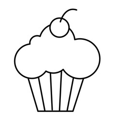 Sweet cupcake icon outline style vector