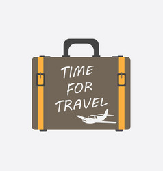 time for travel concept flat suitcase for vector image