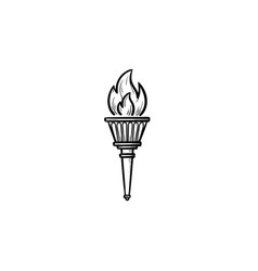 torch hand drawn outline doodle icon vector image