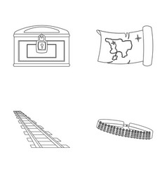 Treasure map chest rails patrolwild west set vector