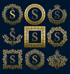 Vintage monograms set of s letter vector