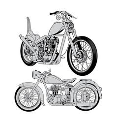 Vintage motorcycle set vector