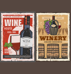 Wine house barrel and winery grand reserve drinks vector