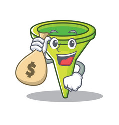 With money bag funnel character cartoon style vector