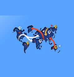 world map blue papercut gps travel arrow concept vector image