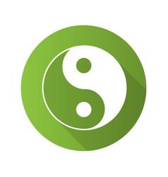 Yin yang flat design long shadow glyph icon vector