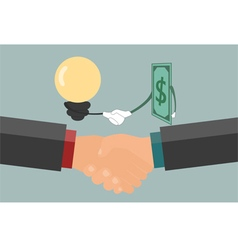 Businessman handshake exchange money and idea vector image vector image