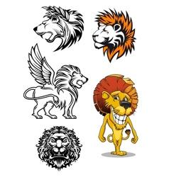 Cartoon and heraldic lion characters vector image vector image