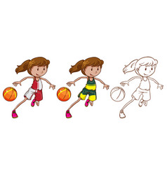 Drafting character for female basketball player vector