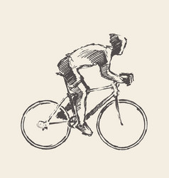 drawn bicyclist rider man sketch bicycle vector image vector image
