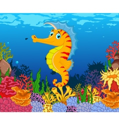 funny seahorse cartoon with beauty sea life backgr vector image