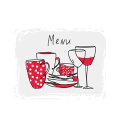 Menu hand drawn design with pottery vector image