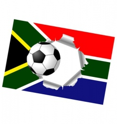ripped flag with soccer ball vector image vector image