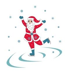 Santa Claus Ice Skating vector image