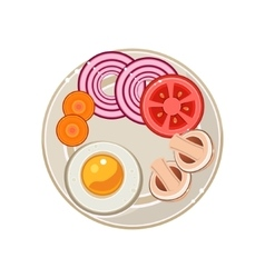 Served breakfast with fried egg and vegetables vector