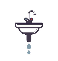 washbasin with pipe spraying water icon on white vector image