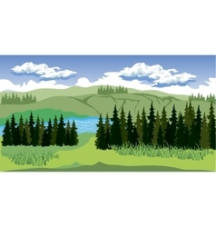 Beauty landscape with forest and mountain vector image