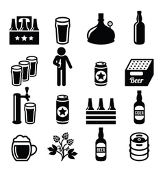 Beer brewery pub icons set vector image