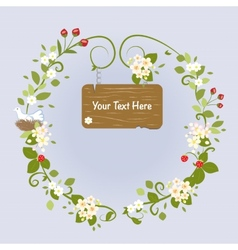Blossom Frame Fairy Message Text Love Bird vector image