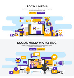 flat design concept banners - social media and vector image vector image