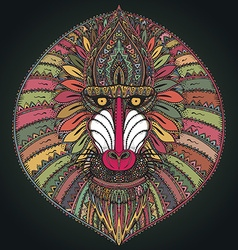 Hand drawn ornate baboon face vector image