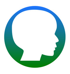 people head sign white icon in bluish vector image vector image