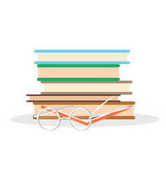 pile of literature open book and glasses closeup vector image