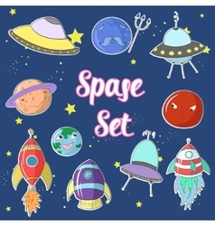 Space set cartoon UFO planets rockets vector image