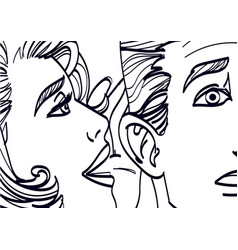 woman whispering in mans ear drawing vector image vector image