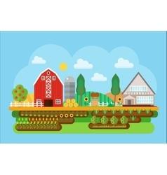 agricultural village landscape flat concept vector image vector image