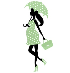Pregnant lady with umbrella vector image