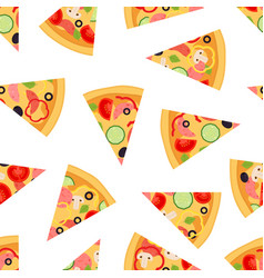 Seamless pattern of pizza slices vector