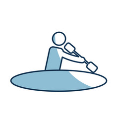 Silhouette of athlete practicing kayak vector