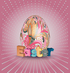 easter poster egg on pink pattern eggs with vector image vector image