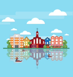 flat spring city landscape concept vector image